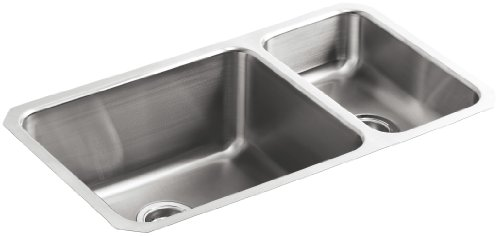 - KOHLER K-3174-NA Undertone High/Low Undercounter Kitchen Sink, Stainless Steel