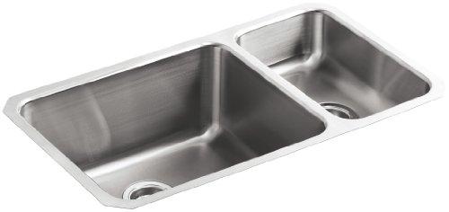 KOHLER K-3174-NA Undertone High/Low Undercounter Kitchen Sink, Stainless Steel