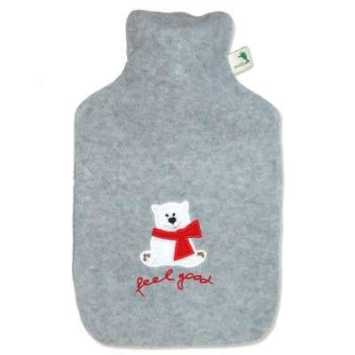 Hot Water Bottle with Cover - Hot Cold Pack Made of Burst Resistant Thermoplastic with Fleece Sleeve Helps Relieve Muscle Aches & Pains, Menstrual Cramps, Flu Symptoms (1.8 L Feel Good Bear, Grey)
