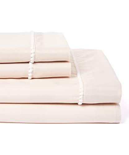 POSH HOME Pom Pom Ultra Soft Breathable Decorative Sheet Set Wrinkle & Fade Resistant 4 Piece Sheet Set (Light Taupe, Queen)