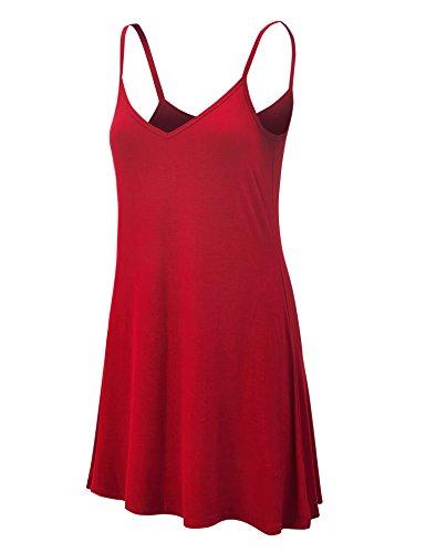 - WDR1090 Womens V Neck Spaghetti Strap Tunic Short Dress S Red