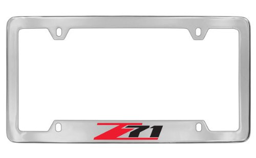 Chevrolet Z71 Chrome Plated Metal Bottom Engraved License Plate Frame Holder