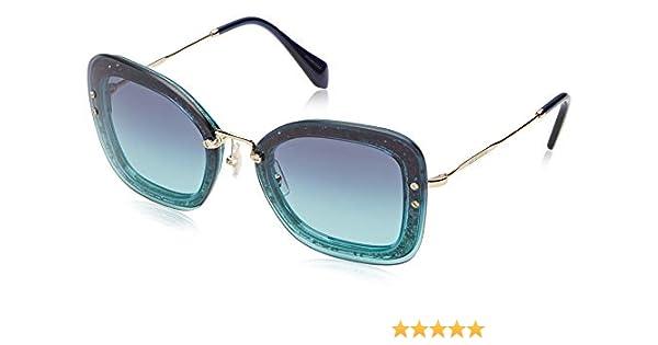04f87ea764db Amazon.com: Sunglasses Miu MU 2 TS JZG5R2 TRANSP EMERALD GREEN/GLITTER:  Clothing
