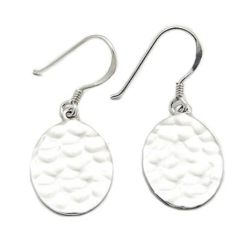 Hammered Finish Sterling Silver Metal Oval Disc Hook Earrings (Silver Oval Hammered Earrings)