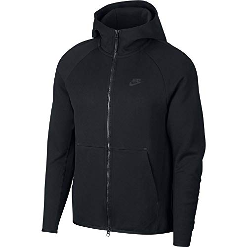 (Nike Mens Tech Fleece Full Zip Hoodie Sweatshirt Black/Black 928483-010 Size Large)