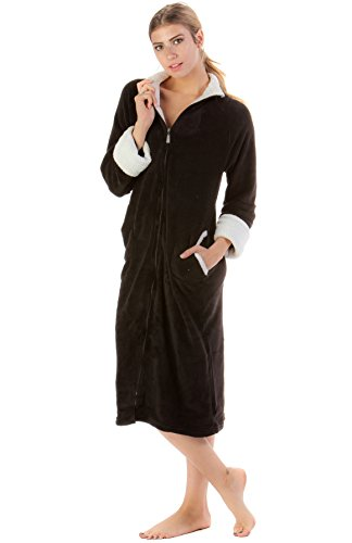 (Casual Nights Women's Zip Up Plush Fleece Robe - Black - X-Large)