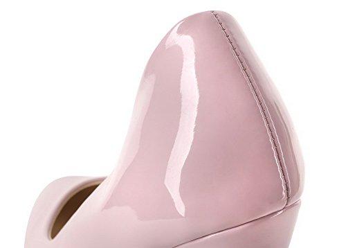 Amoonyfashion Kvinna Fast Lackläder Kick-häl Slutna Tå Pumpar-shoes Rosa