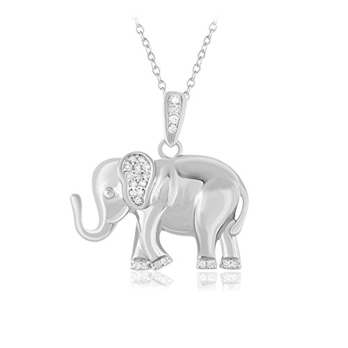 (Carats For You 925 Sterling Silver 0.2 ct Brilliant Round Cut Genuine Real Natural Diamonds Elephant Necklace Pendant with chain for women      )