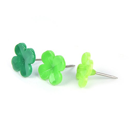 LONG7INES Set of 24 Pcs Four-leaf Clover Push Pins Thumb Tacks Drawing Pins for School, Home, Office Use, Green Photo #3