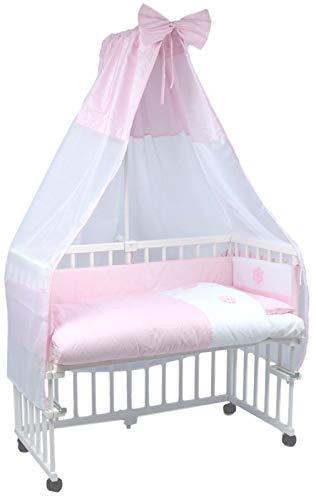 MamaLoes Beistellbett Baby komplett, mit Rollen und Matratze, Stubenwagen, komplett mit Ausstattung (rosa), inklusive Himmelbett, 8-fach höhenverstellbar