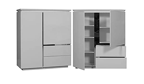 LIGNEUBLE - Cerrojo lacado blanco para sala de comedor moderna: el elemento de almacenamiento 2 puertas y 2 cajones: Amazon.es: Hogar