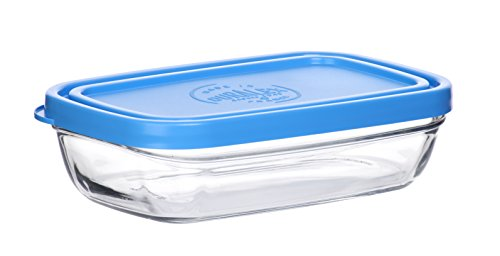 - Duralex Made In France Lys Rectangular Bowl with Lid, 13 oz, Clear/Blue