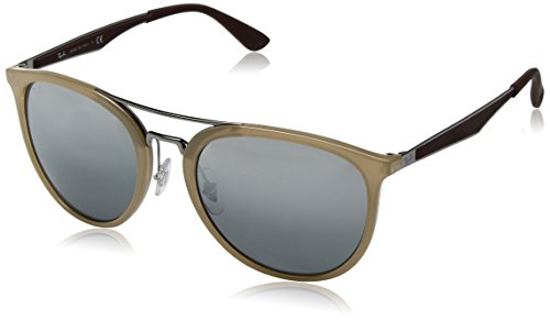 Ray-Ban Men's Plastic Man Non-Polarized Iridium Square Sunglasses, Beige, 55 - Ban Clubmaster Beige Ray