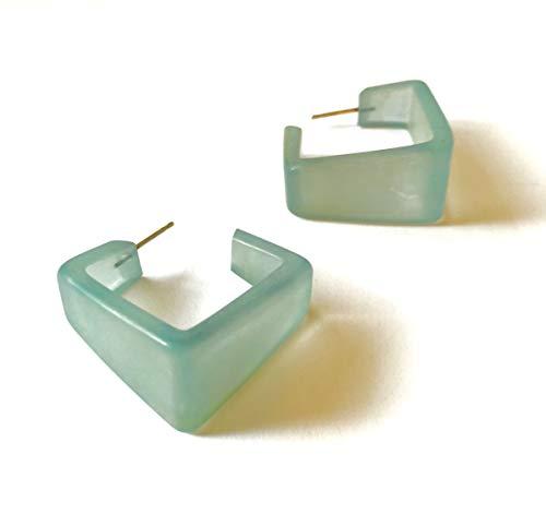 (Teal Square Hoop Earrings | Vintage Lucite Wide Cubist Square Hoops)