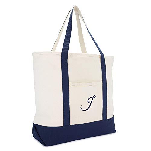 (DALIX Monogram Tote Bag Personalized Initial Navy Blue -J)