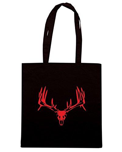deer Shirtshock Shopping FUN1180 02 35025 skull T Nero Borsa EIFqxwtd
