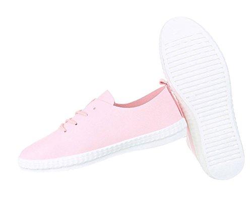 Unisex Basic Sneaker | Damen Sneakers | Herren Sneaker Low | Freizeit Turnschuhe Leder Optik | Schnürschuhe Halbschuhe | Schuhcity24 Rosa