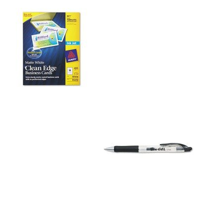 Avery Business Pen - KITAVE49988AVE8877 - Value Kit - Avery Two-Side Printable Clean Edge Business Cards (AVE8877) and Avery eGEL Roller Ball Retractable Gel Pen (AVE49988)