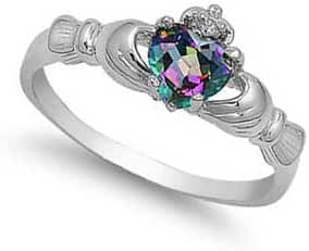 ALL NATURAL GENUINE - 9MM 2ctw Sterling Silver June Fire Rainbow Topaz Mystic HEART Royal Claddagh Celtic Irish Ring-SIZE 2-13