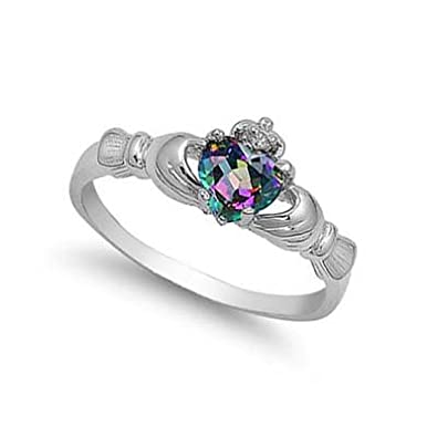 THE ICE EMPIRE JEWELRY, LLC All Natural Genuine – 9MM 2ctw Sterling Silver June Fire Rainbow Topaz Mystic Heart Royal Claddagh Celtic Irish Ring-Size 2-13