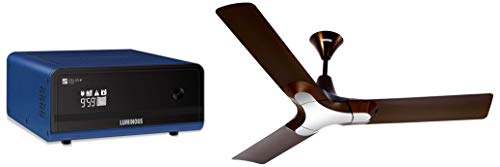 Luminous Zelio+ 1100 Home Pure Sinewave Inverter Ups & Luminous 1200Mm New York Brooklyn 3 Blade Ceiling Fan (Ale Brown) 2021 June Product 1: Maximum bulb load - 756 watt, capacity – 900 VA; Running Load :- 3 CFL, 3 Tube light, 3 Ceiling Fan, 1 Television, 1 air Cooler Product 1: Automatic temperature control via fan Product 1: Protection: Overload, deep discharge, short-circuit, Reverse polarity & Input mains protection through MCB.