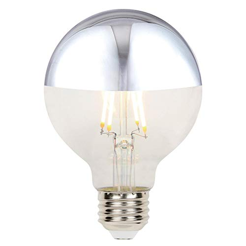 Westinghouse Lighting 5169000 4.5 (40-Watt Equivalent) G25 Dimmable Half Chrome Filament, Medium Base LED Light Bulb, 1/2