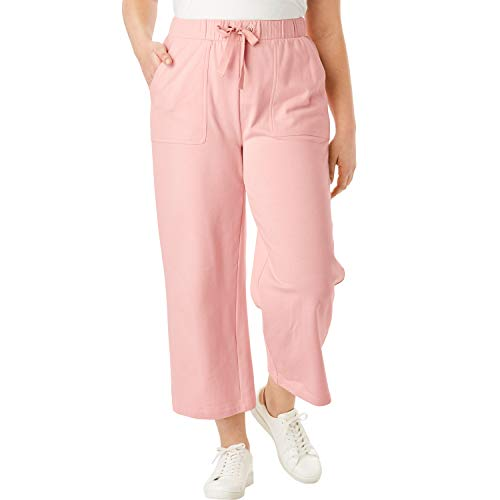 Roamans Women's Plus Size Wide-Leg Crop French Terry Pant with Drawstring Waist - Soft Blush, 18/20
