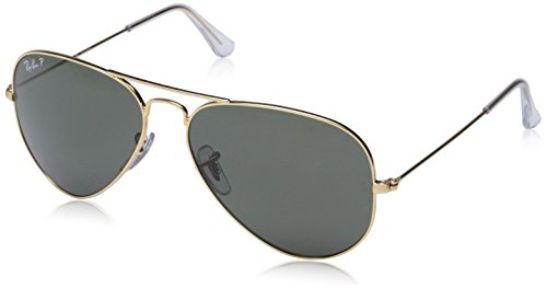 Ray-Ban RB3025 Aviator Large Metal Sunglasses 58 mm, Polarized, Arista Gold/Polarized Crystal - For Face Square Ban Ray