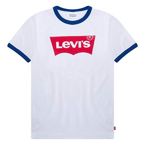 Levi's Boys' Little Classic Batwing T-Shirt, White Ringer, 6 ()