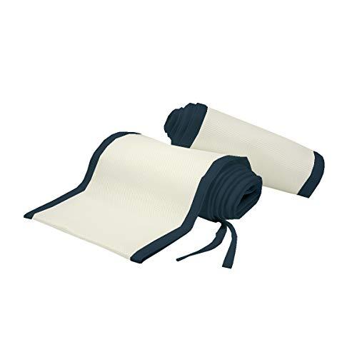 Mini Crib Liner -Honeycomb Technology Safer for Baby, Anti-Bumper, Non-Padded, Breathable Mesh Crib Liner -Ivory+Navy Blue