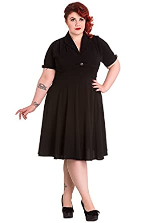 Hell Bunny Plus Size 40s Vintage Style Jocelyn Little Black Dress