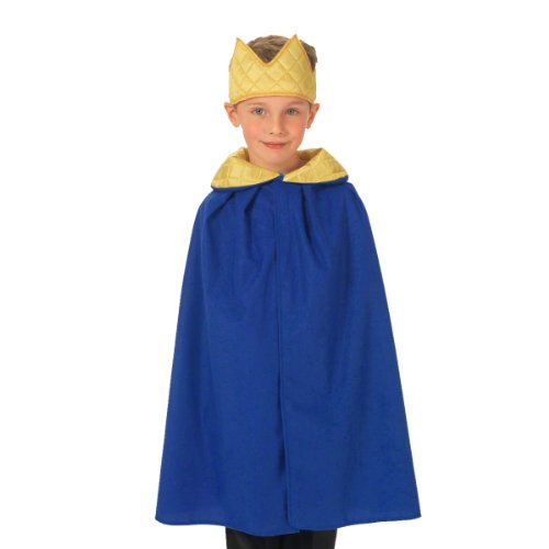 3 Kings Costume (Blue King / Queen Cloak Costume for kids 3-9 Years)