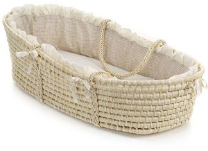 Natural Moses Basket with Beige Gingham Bedding by Badger Basket (Badger Fabric Basket)