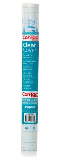 Con-Tact Brand Clear Adhesive Protective Liner to Cover Books and Documents, 13.5-Inches x 5-Feet ()