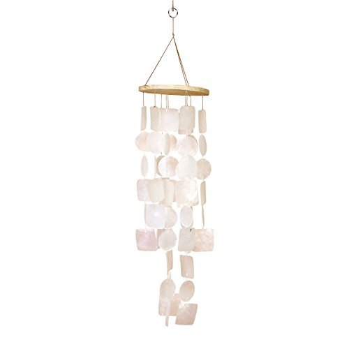 "Bellaa 22913 White Capiz Shell Wind Chime 26"" h, 5.5"" w"
