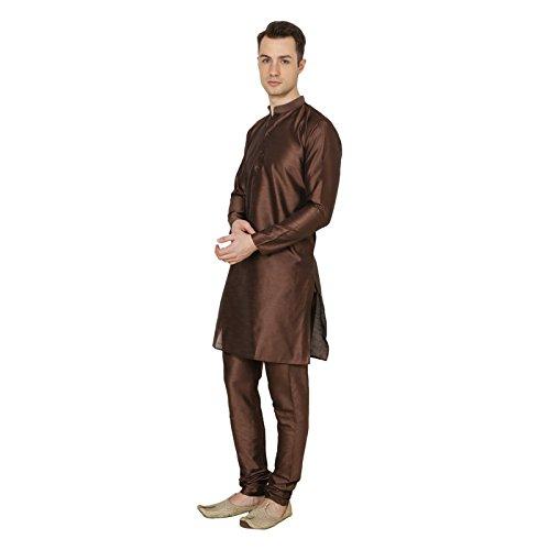 Royal Traditional Silk Blend Brown Men's Diwali Kurta Pajama Solid Ethnic Wear by Royal