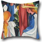 20 X 20 Inches / 50 By 50 Cm Oil Painting August Macke - Four Girls Pillowcover ,double Sides Ornament And Gift To Lover,monther,deck Chair,chair,son,study Room]()