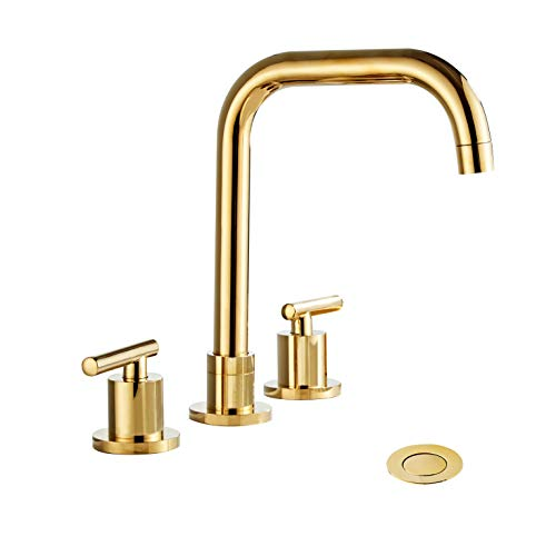(Wovier Shiny Polished Gold 8-16 Inch Widespread Waterfall Bathroom Sink Faucet,Two Handle Three Hole Lavatory Faucet,Basin Mixer Tap With Pop Up Drain,French)