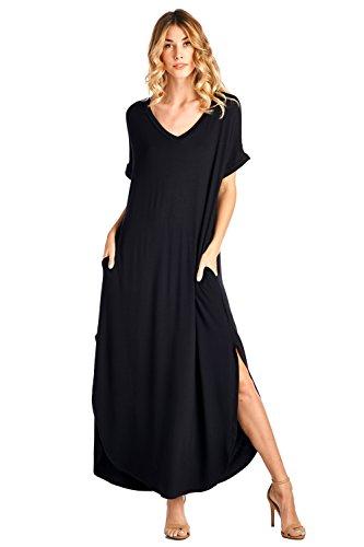 12 Ami Solid V-Neck Pocket Short Sleeve Loose Maxi Dress Black S (On Store Summer Furniture)