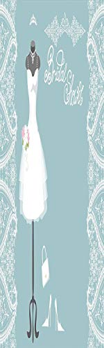 Bridal Shower Decorations 3D Decorative Film Privacy Window Film No Glue,Frosted Film Decorative,Vintage French Inspired Bride Dress with Floral Frames,for Home&Office,17.7x59Inch Baby Blue and White]()