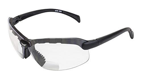 Global Vision Eyewear C-2 Bifocal 1.5 Lens Magnification Safety Glasses, Clear Lens, Gloss Black