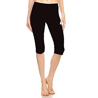 Women Stretch Capri Active Crop Cotton-Spandex Leggings Tights (X-Large, BLACK)