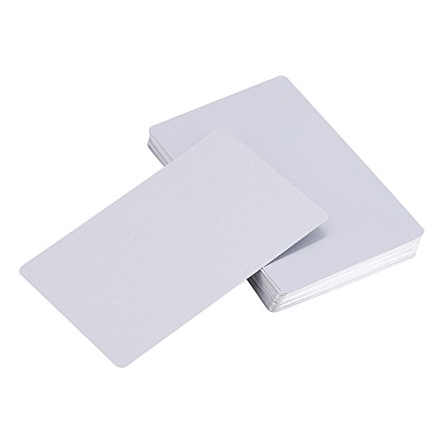 50Pcs Metal Business Cards Blanks for Customer Laser Engraving DIY Gift Cards 5 Colors (Silver Metal Name Tag)