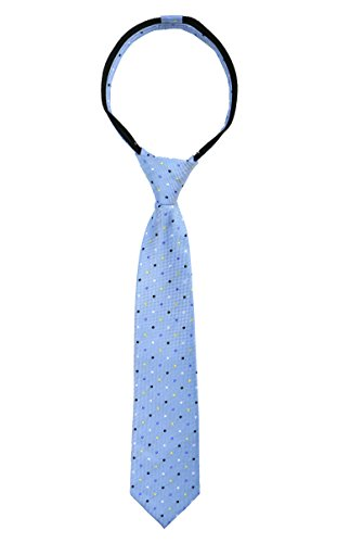 Spring Notion Boys' Pre-tied Woven Zipper Tie Small Light Blue Dotted