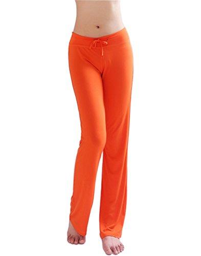 HOEREV Women's Soft Modal Slimming Lounge Pants Yoga Pants Pajama (Orange Sweatpants)