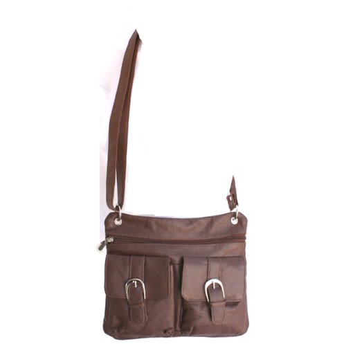Buckled Pockets Messenger Roomy Italian Leather Shoulder Cross Body Bag Brown, Bags Central
