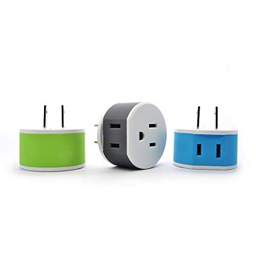 Orei US-6 Japan, Philippines Travel Plug Adapter - 2 USA Inputs - 3 Pack - Type A by Orei