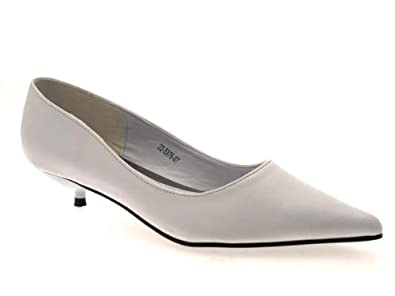 9c03f4a2e7f WOMENS FAUX LEATHER POINTED TOE COURT WEDDING BRIDAL STILETTO KITTEN ...
