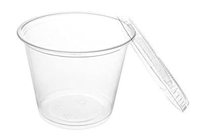 Crystalware Disposable Plastic Portion Cups with Lids, 100 Sets, Clear