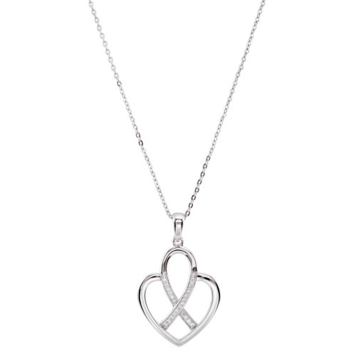 Rhodium Plate Sterling Silver Cancer Ribbon and Heart 'Fight Against Cancer' CZ Necklace, 18'' by The Men's Jewelry Store (for HER)